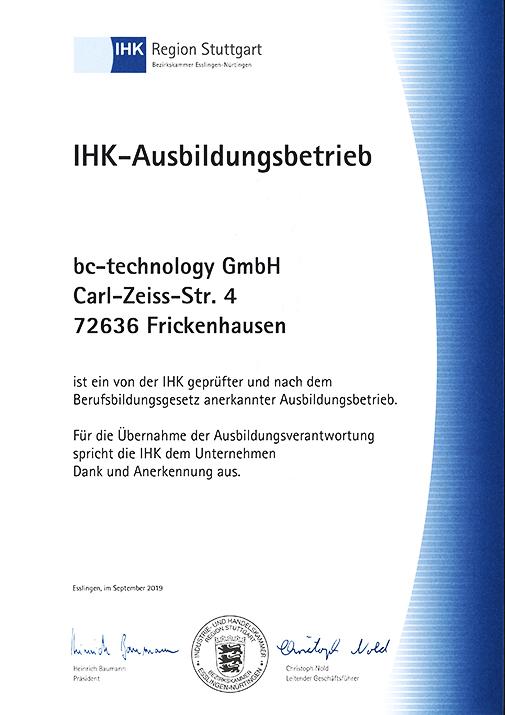 Ausbildungsbetrieb bc-technology GmbH