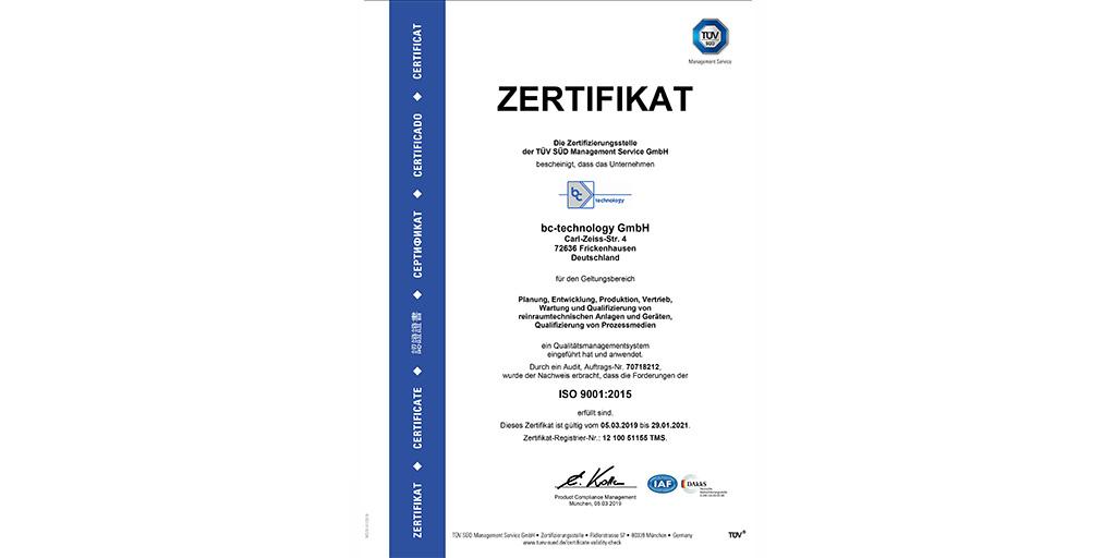 TÜV-Urkunde von bc-technology